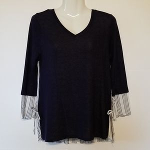 Navy Blue Top, Ruffle Sleeves, Striped Back, XS